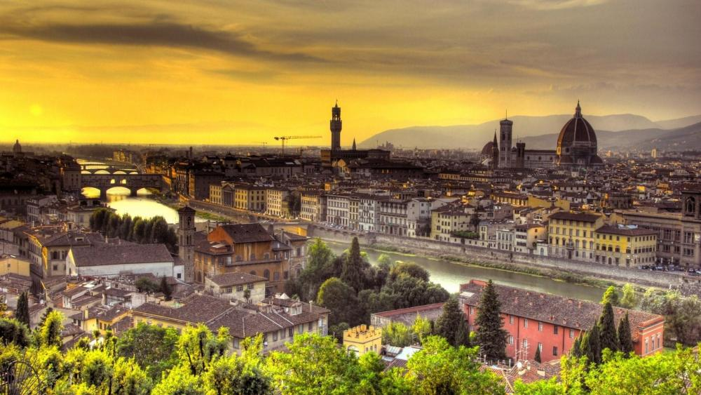 Florence and Arno River wallpaper