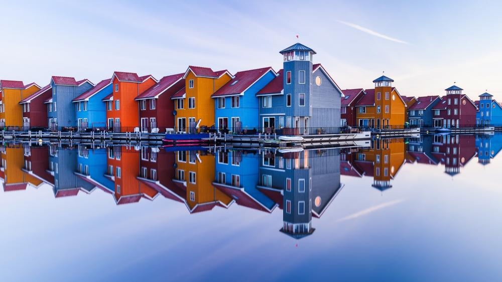 Reitdiep Marina perfect reflection wallpaper