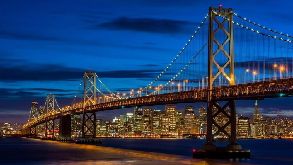 Bay Bridge and San Francisco at dusk wallpaper