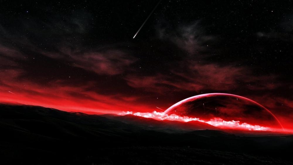 Red horizon - Fantasy space art wallpaper