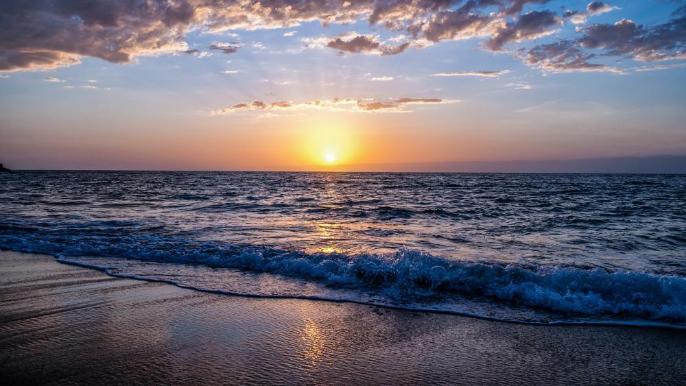 Sandy beach sunset wallpaper