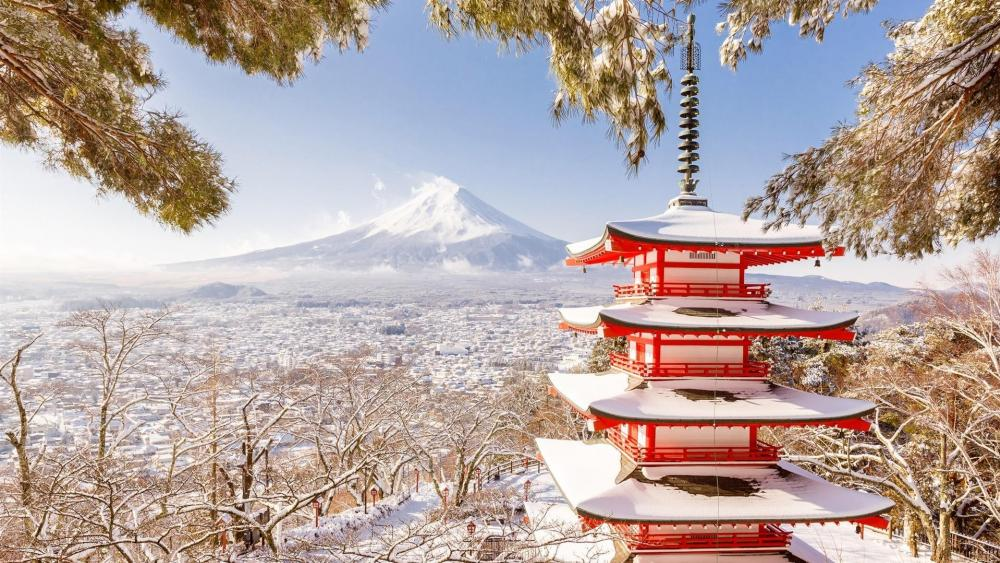 Chureito Pagoda and Mount Fuji in winter wallpaper