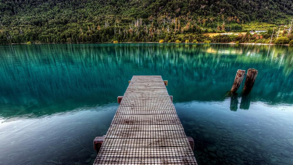 Pier in the turquoise lake wallpaper