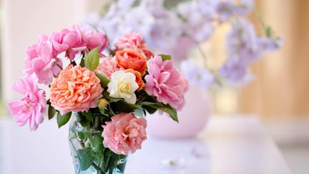 Pion bouquet wallpaper