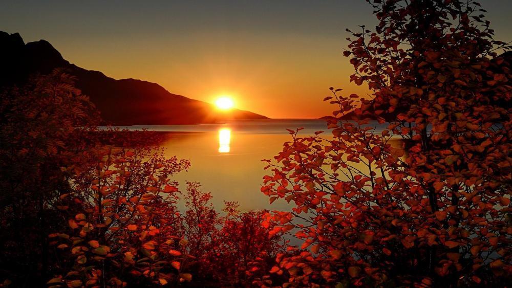 Autumn sunset in Norway wallpaper