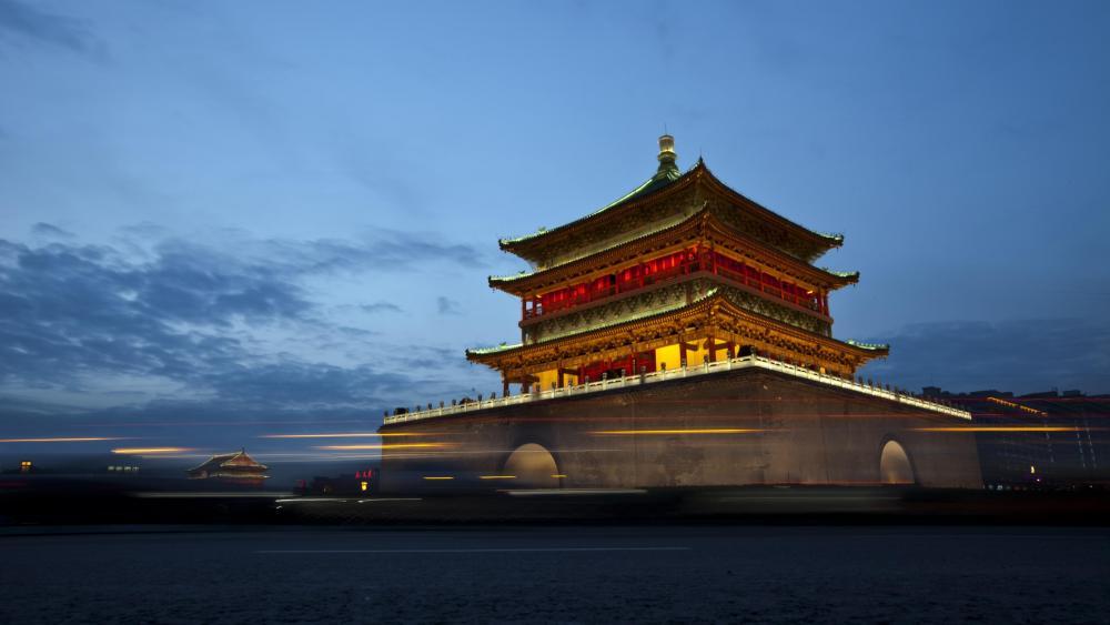 Bell Tower of Xi'an Long Exposure photo wallpaper