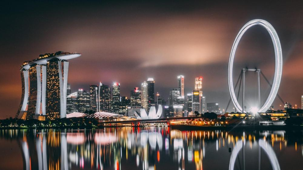 Singapore at night wallpaper