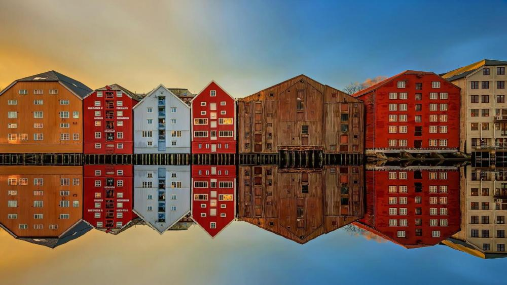 Trondheim reflected in Nidelva river (Norway) wallpaper