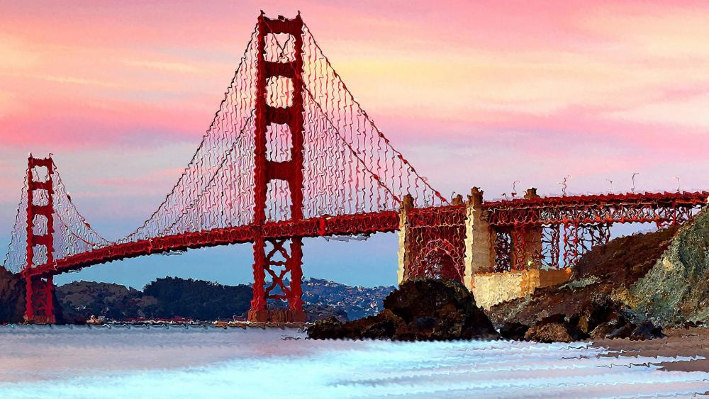 Golden Gate Bridge painting wallpaper