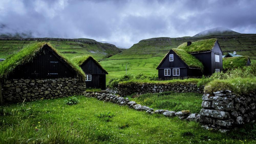 Husavik Turf Houses (Faroe Islands) wallpaper