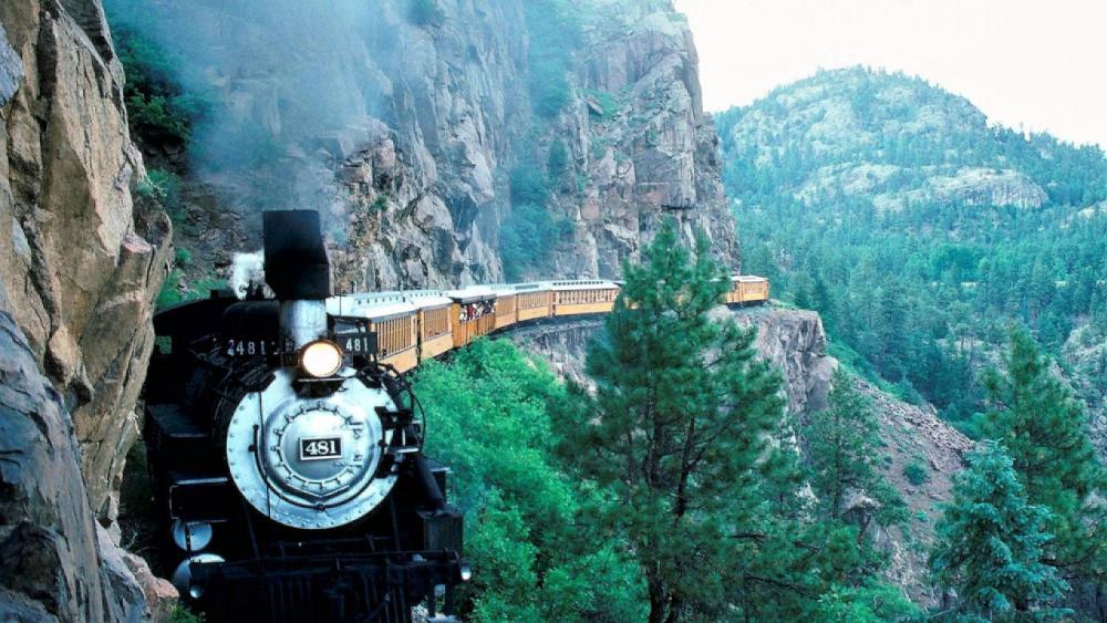 Cliffside train wallpaper