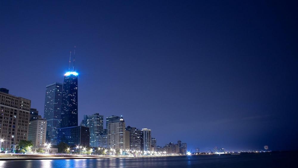 Chicago at dusk wallpaper