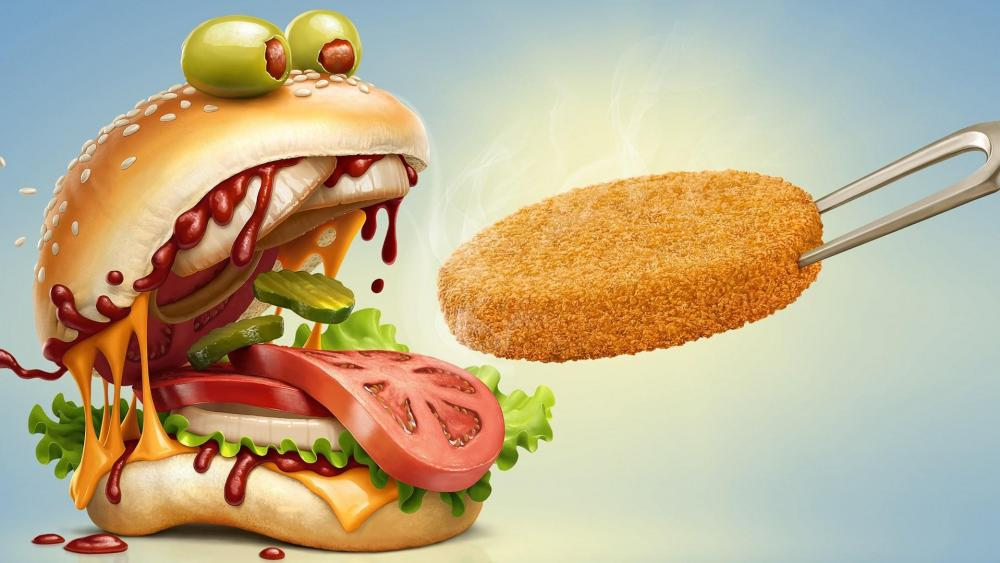 Funny chicken monster burger wallpaper