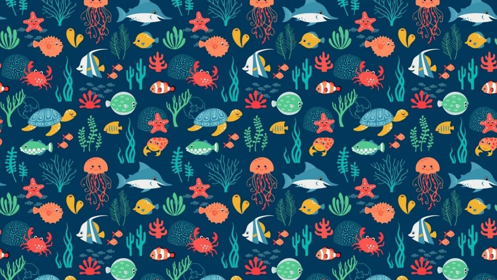 Funny fishes pattern wallpaper