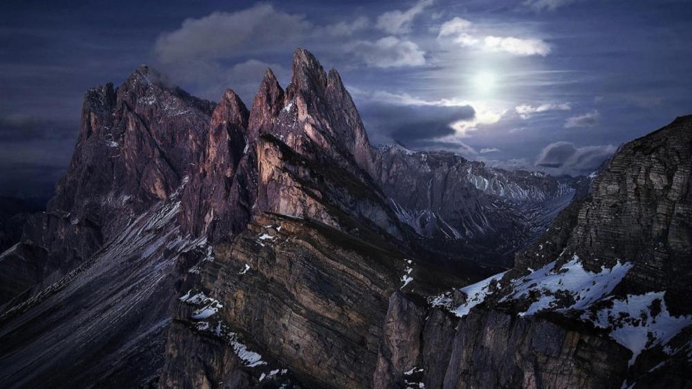 Dolomites in the moonlight wallpaper