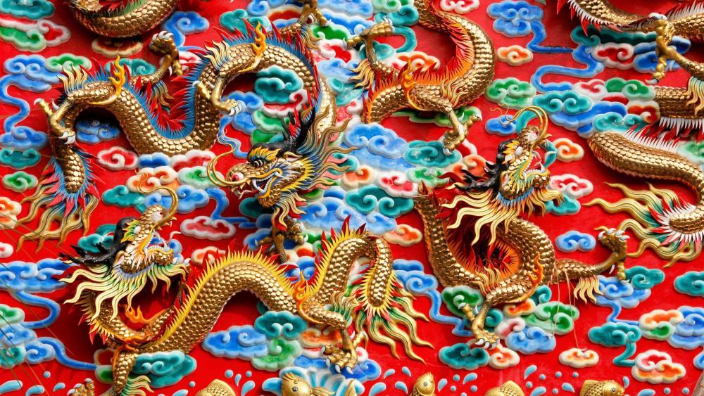 Kratuemsueapla Temple golden dragons wallpaper