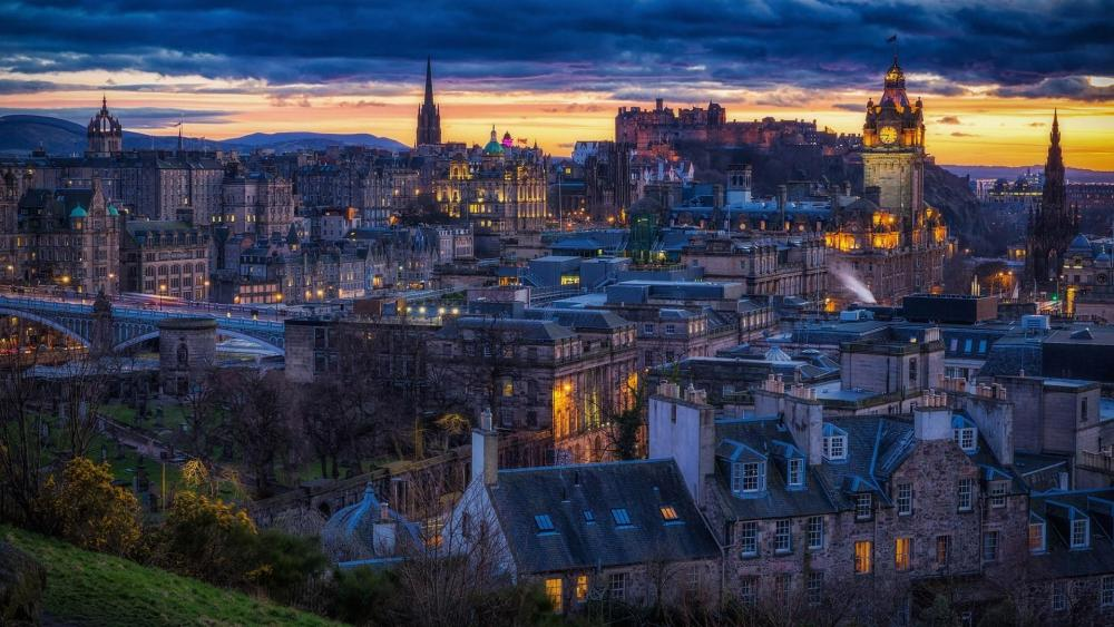 Edinburgh view from Dugald Stewart Monument on Calton Hill wallpaper