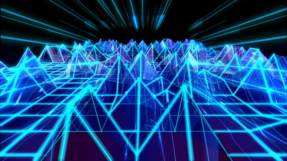 3D blue triangular sound wave geometric artwork wallpaper