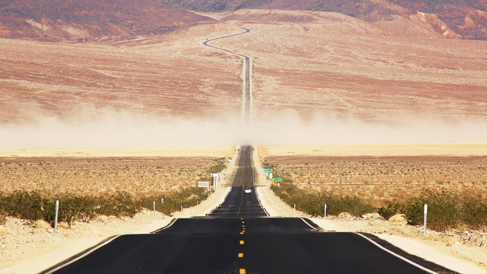 Californian desert road through the Death Valley wallpaper