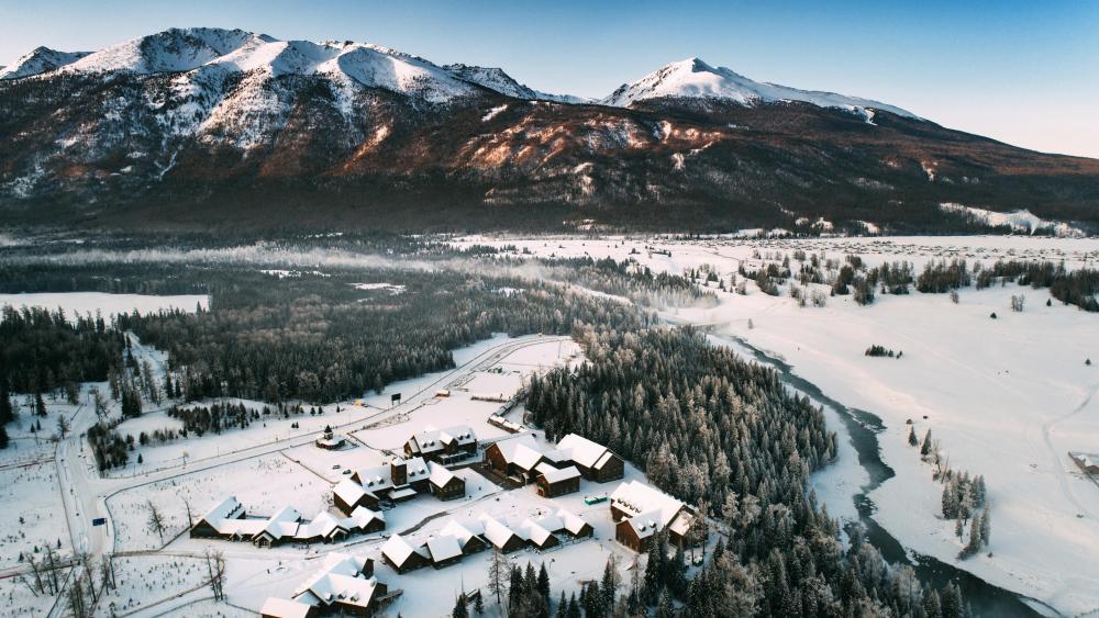 Winter village at Kanas Lake (China) wallpaper