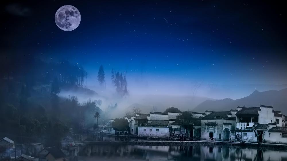 Full moon over Yi County wallpaper