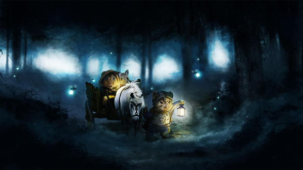 Dark forest - Fairytale art wallpaper