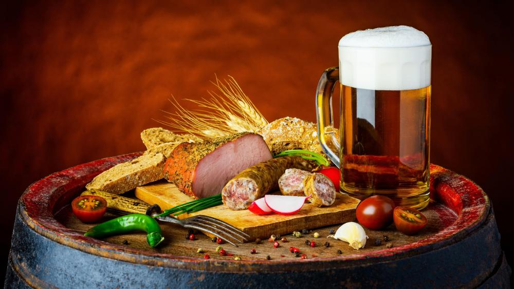 Beer with sausage wallpaper