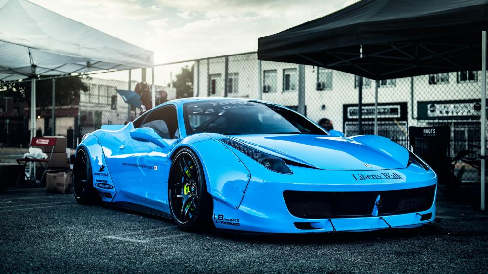 Blue Ferrari 458 wallpaper