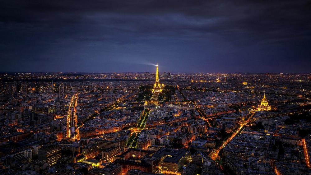 Paris skyline at night wallpaper