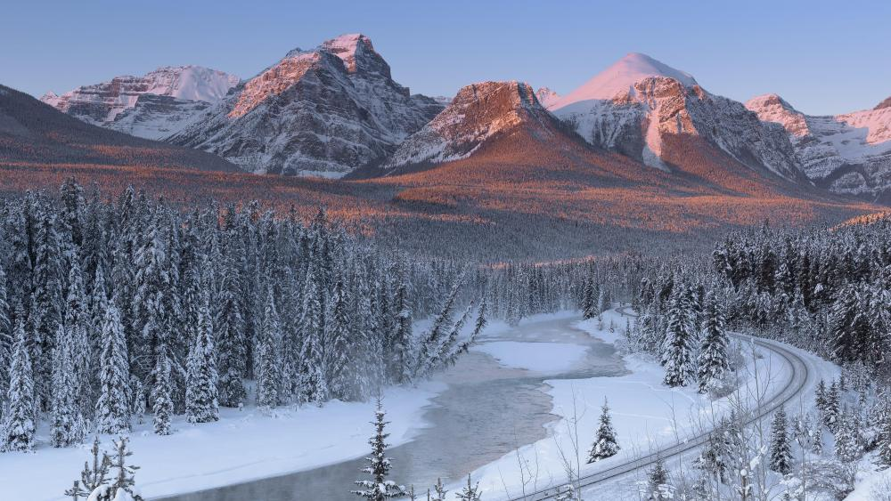 Train track along Bow River in Banff National Park wallpaper
