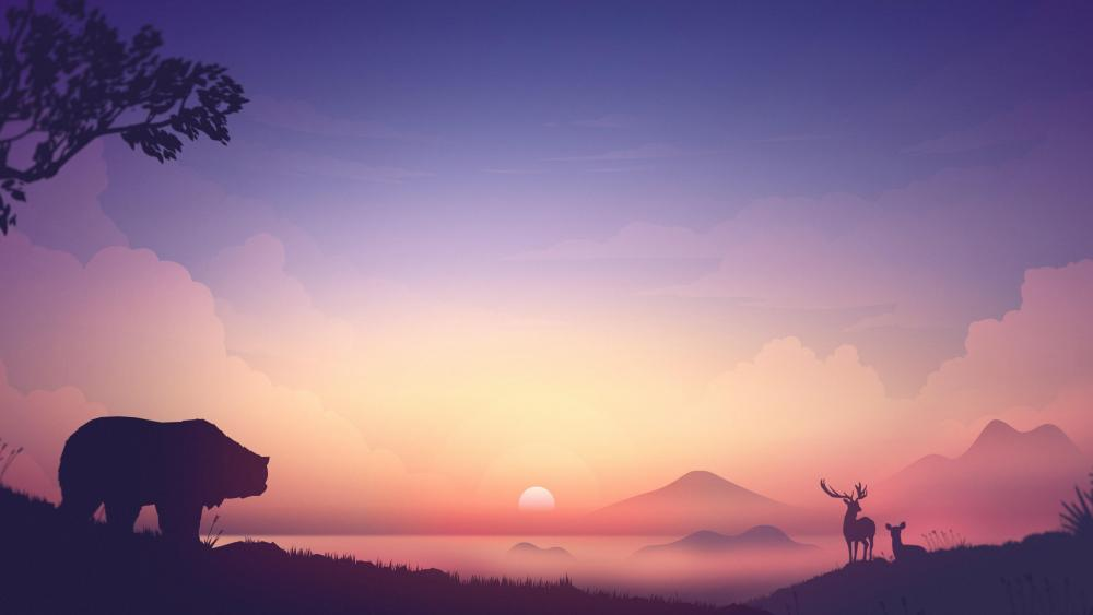 Bear and deer silhouette at sunrise wallpaper