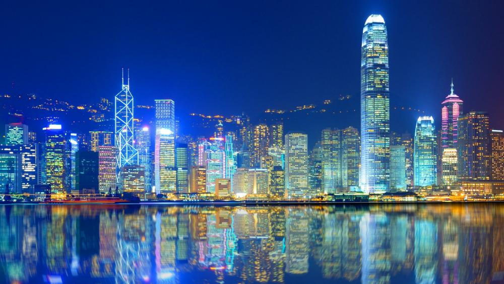 Skyscarpers of Hong Kong from Victoria Harbour wallpaper