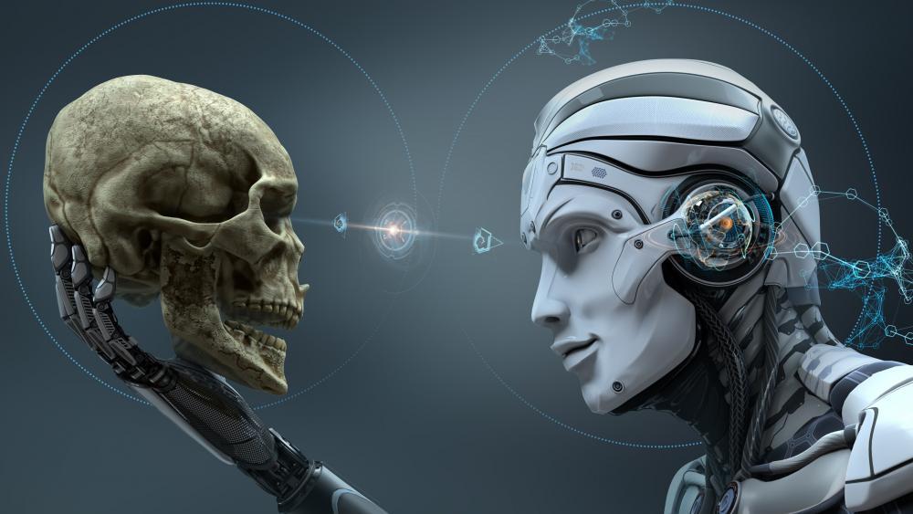 Robot vs Human Skull wallpaper