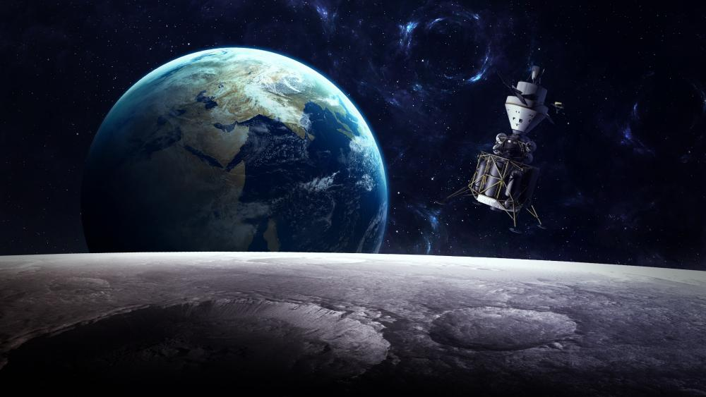 Earth and satellite - Space art wallpaper