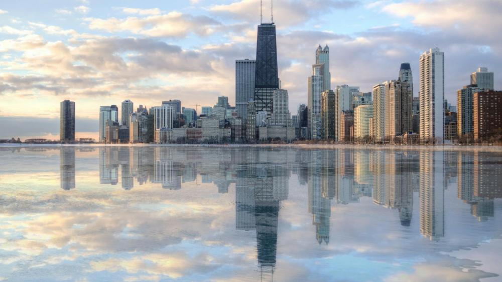 Chicago skyline reflection wallpaper