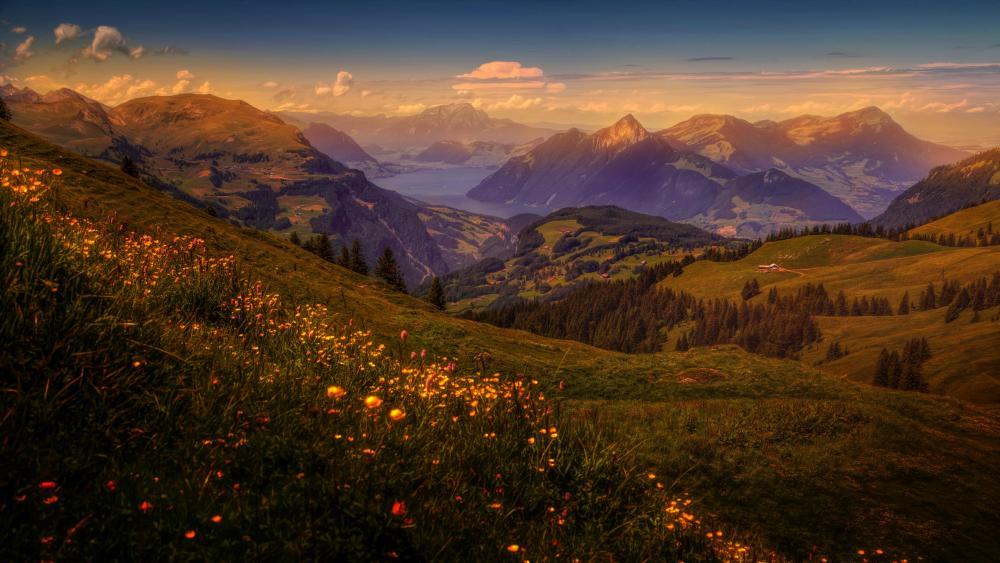 Spring mountain panorama wallpaper