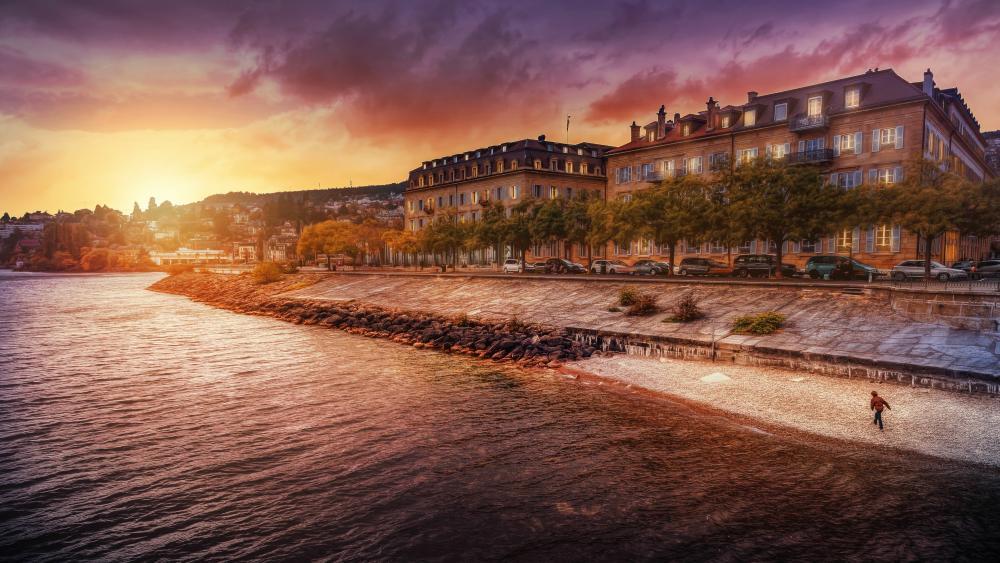 Neuchâtel at sunset (Switzerland) wallpaper