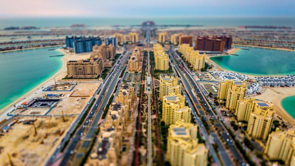 Palm Jumeirah - Tilt Shift Photography wallpaper