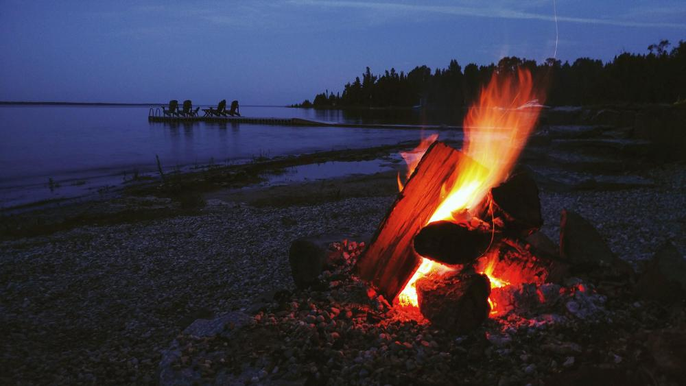 Coastline bonfire wallpaper
