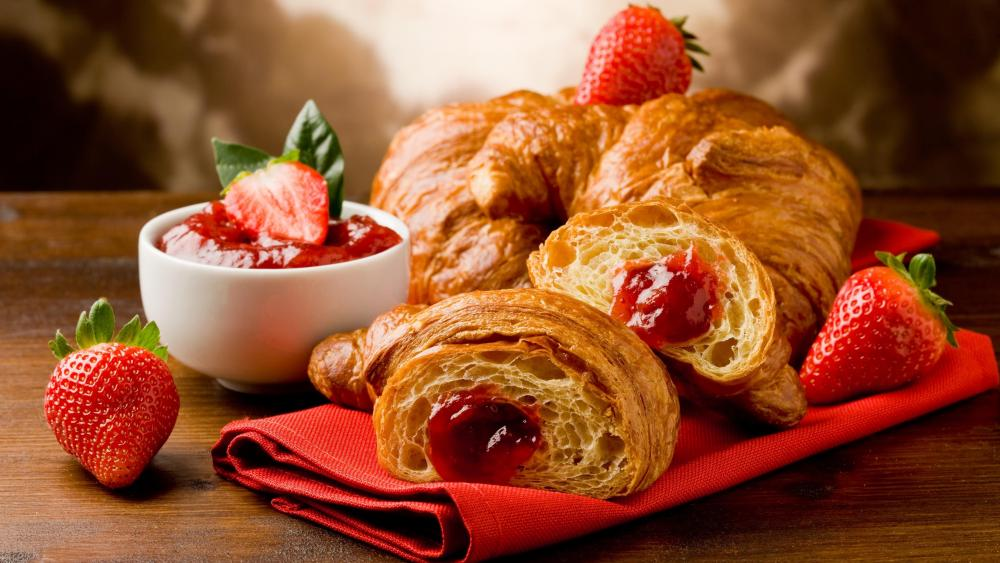 Croissant with strawberry jam wallpaper