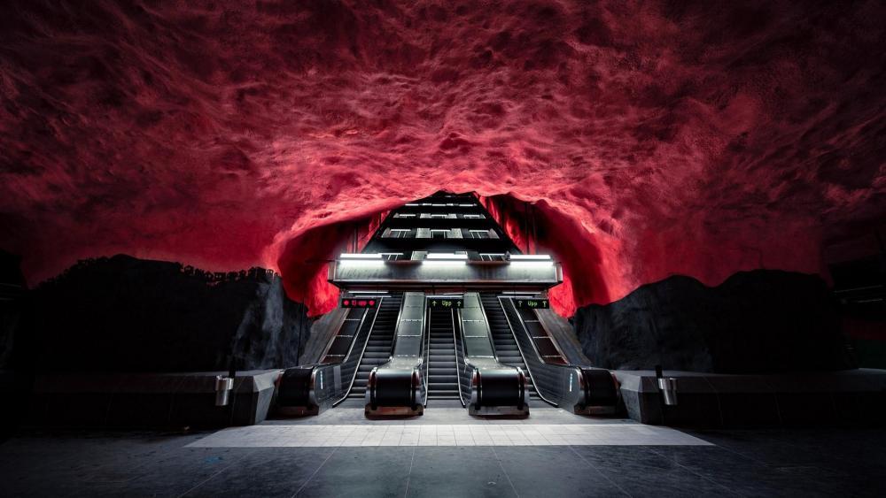 Solna Centrum station on the Stockholm Metro wallpaper