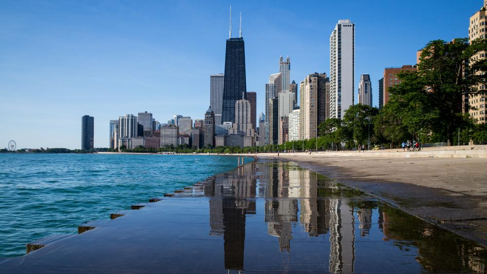 Chicago skyscrapers mirroring wallpaper