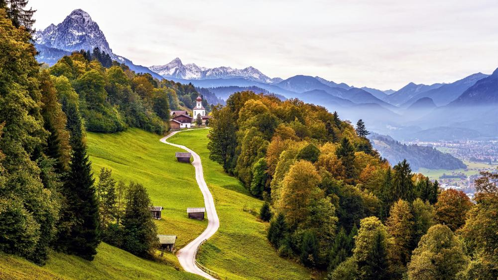 Road to St. Anna Church (Wamberg, Germany) wallpaper