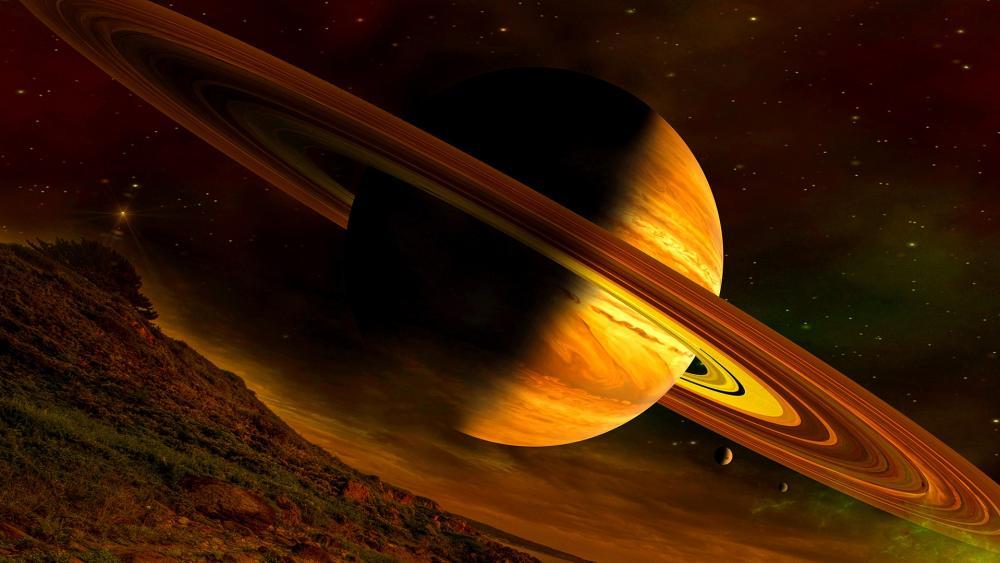 Planet Saturn - Fantasy art wallpaper
