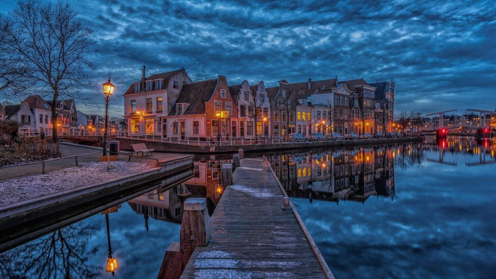 Haarlem canal reflection wallpaper