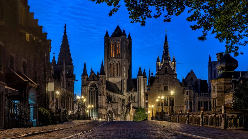 St Michael's Bridge at dusk (Gent, Belgium) wallpaper