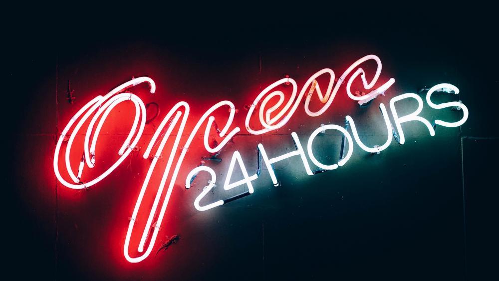 Open 24 Hours neon sign wallpaper