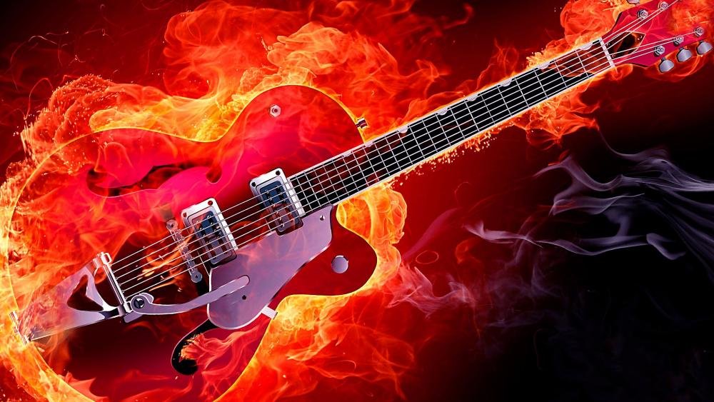 Rockabilly electric guitar on fire wallpaper
