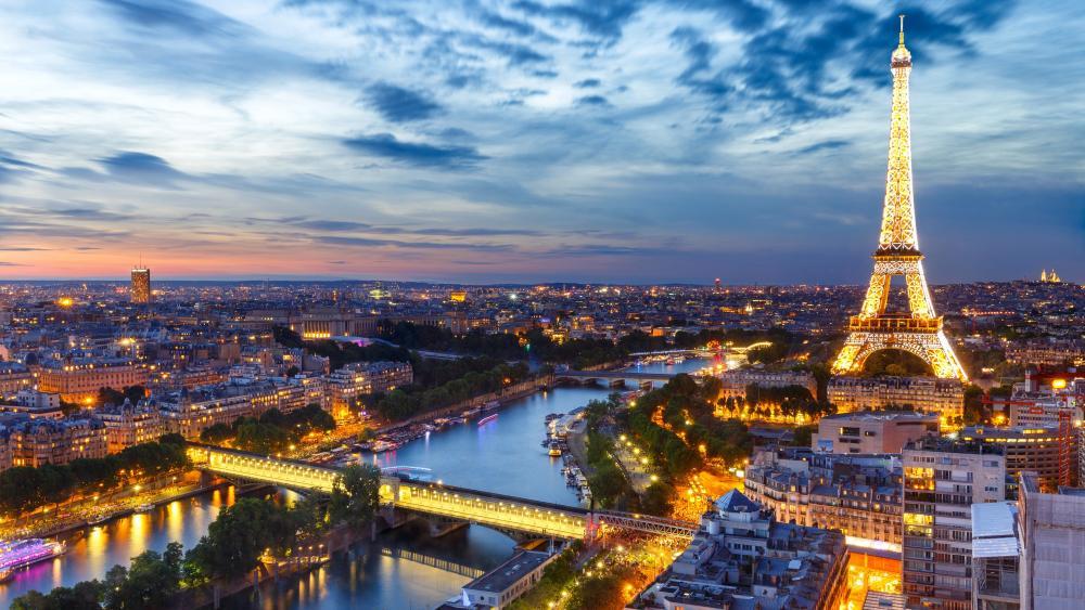 Eiffel Tower and Paris skyline wallpaper