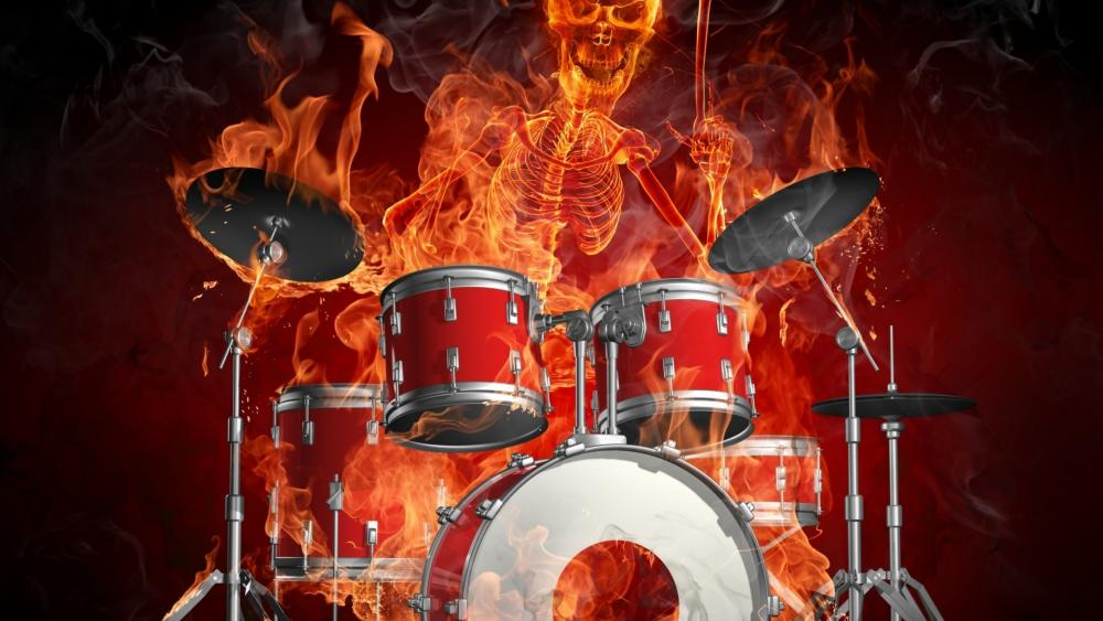 Drums and a skeleton of a man burn in flames wallpaper